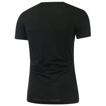 Slim Fit Short Sleeve Round Neck Tee - BLACK 3XL