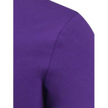 Slim Fit Short Sleeve Round Neck Tee - PURPLE S