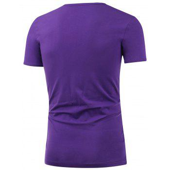 Slim Fit Short Sleeve Round Neck Tee - PURPLE 5XL