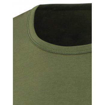 Slim Fit Short Sleeve Round Neck Tee - ARMY GREEN 2XL