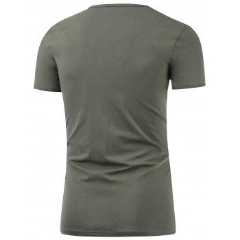 Slim Fit Short Sleeve Round Neck Tee - DEEP GRAY 4XL
