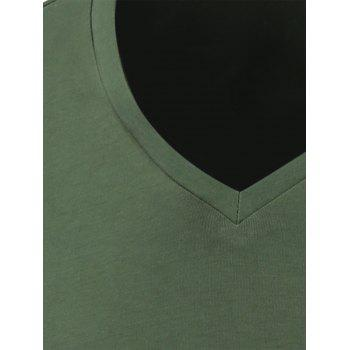 Slim Fit Short Sleeve V Neck Tee - BLACKISH GREEN S