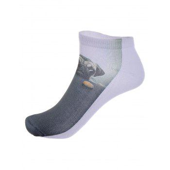 3D Dog and Biscuit Print Crazy Socks - DEEP GRAY