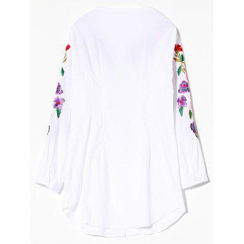 Floral Embroidered Long Sleeve Long Shirt - WHITE S