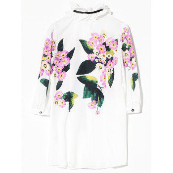 Flounced Floral Long Shirt - WHITE S