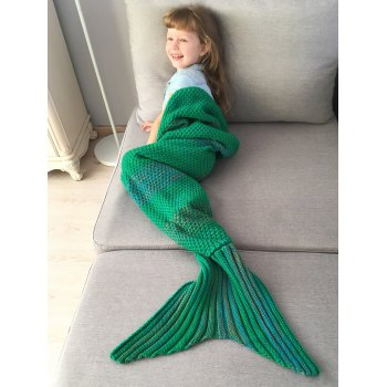 Winter Thicken Longer Color Block Design Knitted Wrap Kids Mermaid Tail Blanket - GREEN