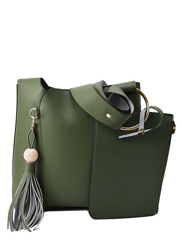 Tassel Wide Strap Shoulder Bag With Wristlet, GREEN in Shoulder ...
