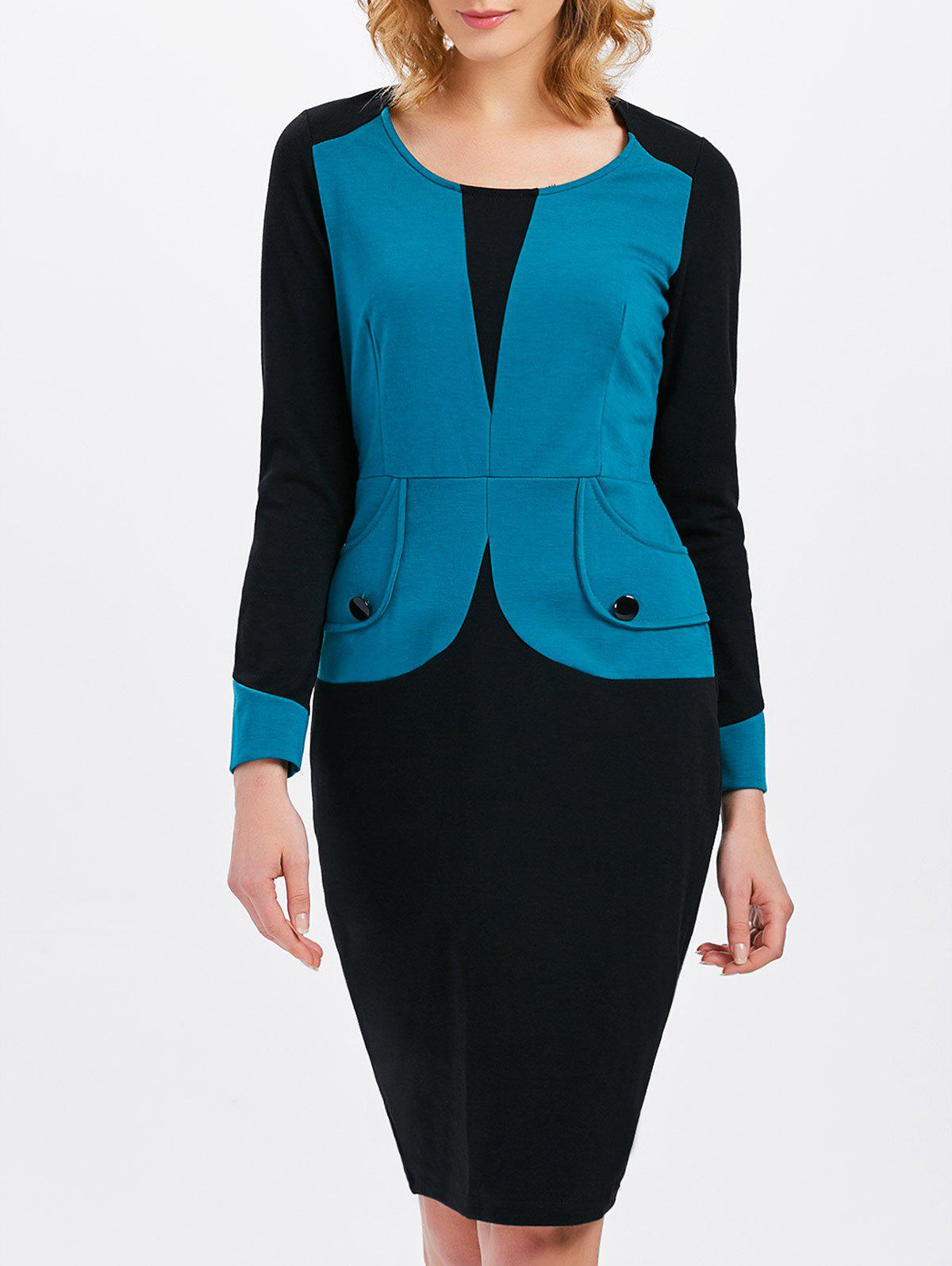 Long Sleeve Contrast Insert Buttoned DressWomen<br><br><br>Size: XL<br>Color: LAKE BLUE