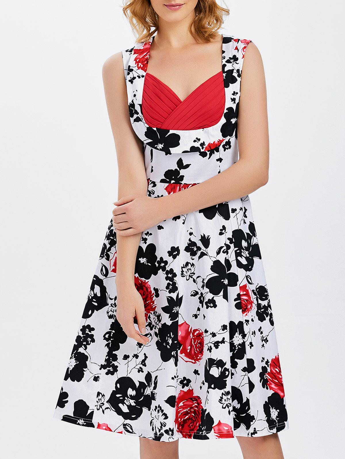 Vest Floral Printed Midi Swing Party Dress music note party swing dress