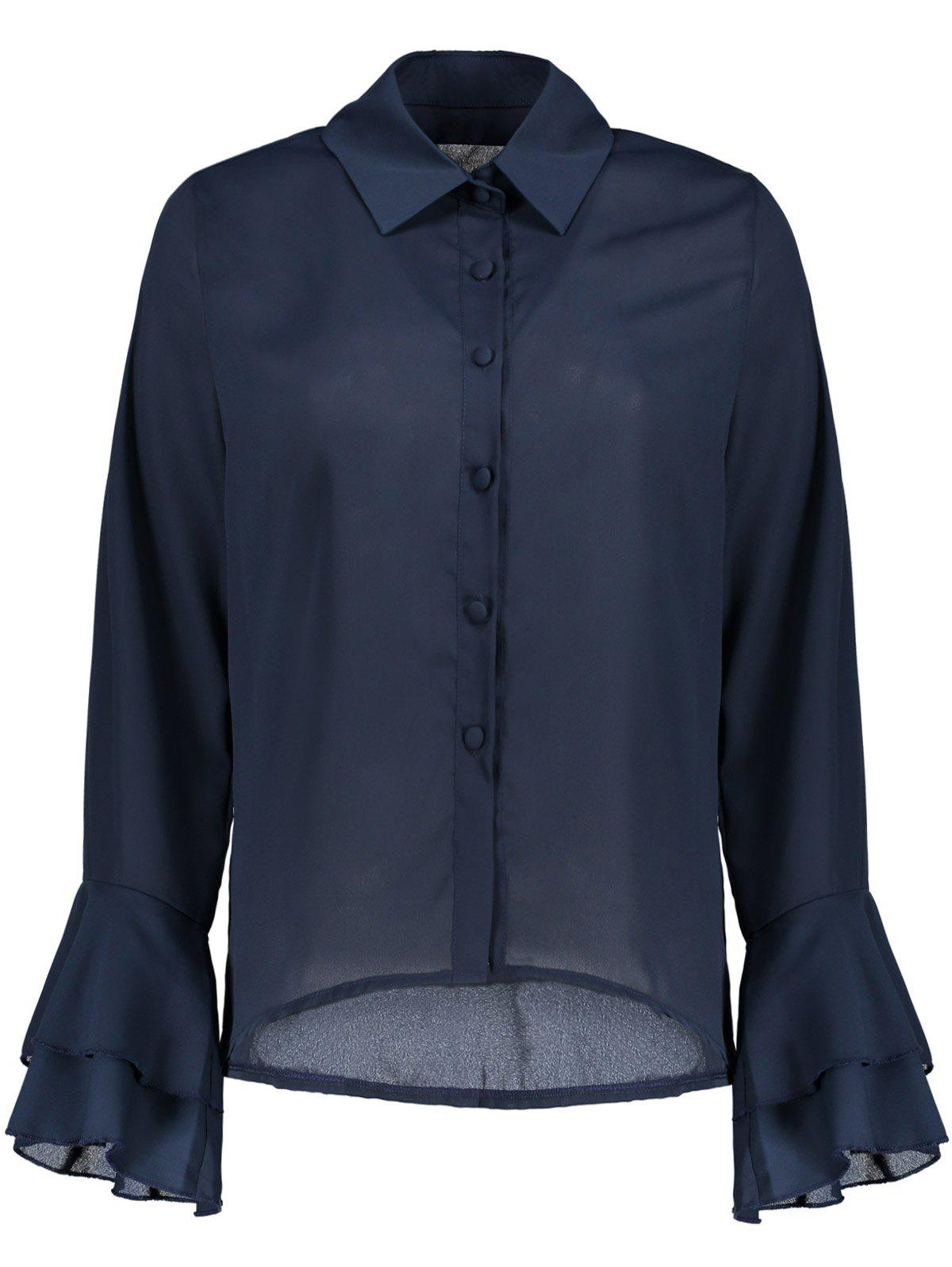 Button Up Bell Sleeve Chiffon ShirtWomen<br><br><br>Size: 2XL<br>Color: CADETBLUE
