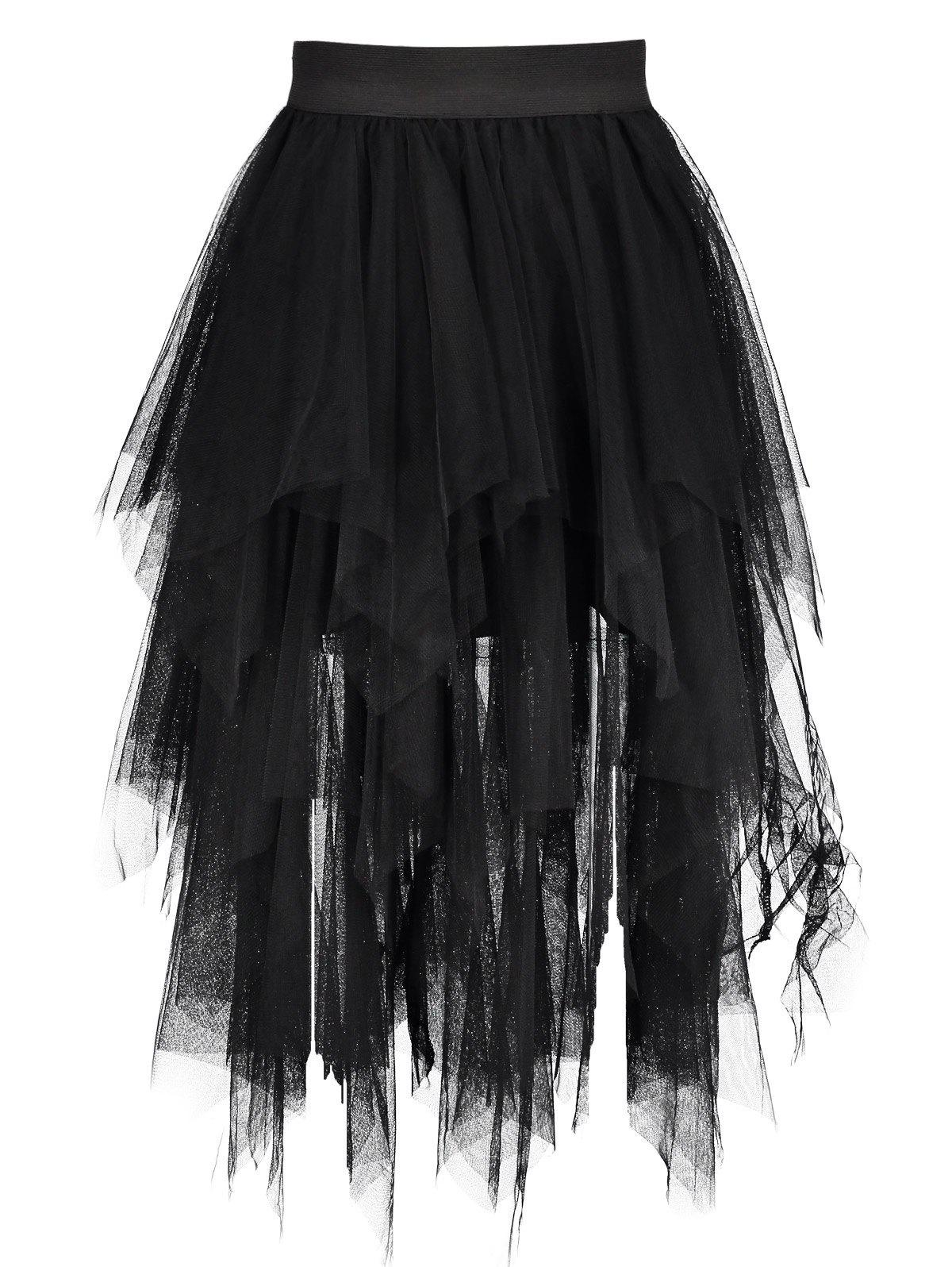 Midi Tulle Handkerchief Skirt - BLACK ONE SIZE