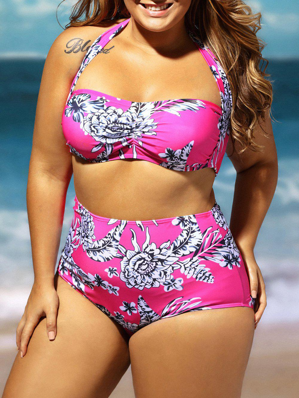 Plus Size Floral High Waisted Bandeau Bikini Set - ROSE RED 4XL