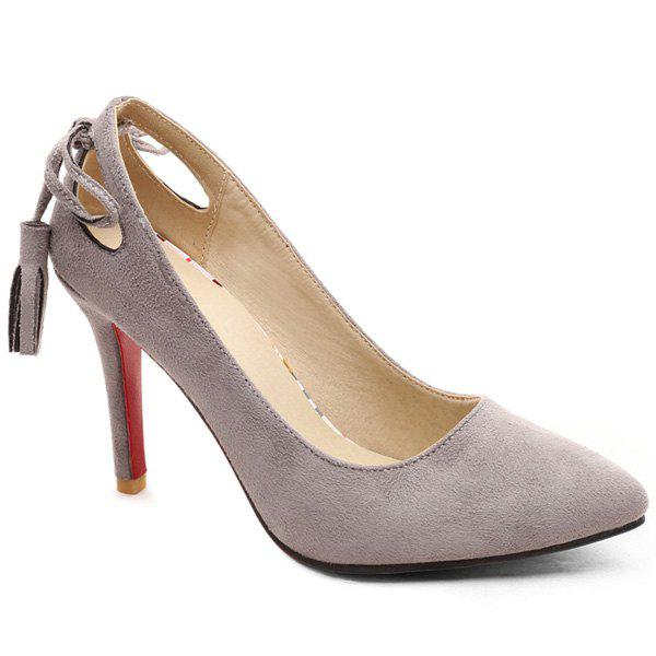 Tassels Hollow Out PumpsShoes<br><br><br>Size: 38<br>Color: GRAY