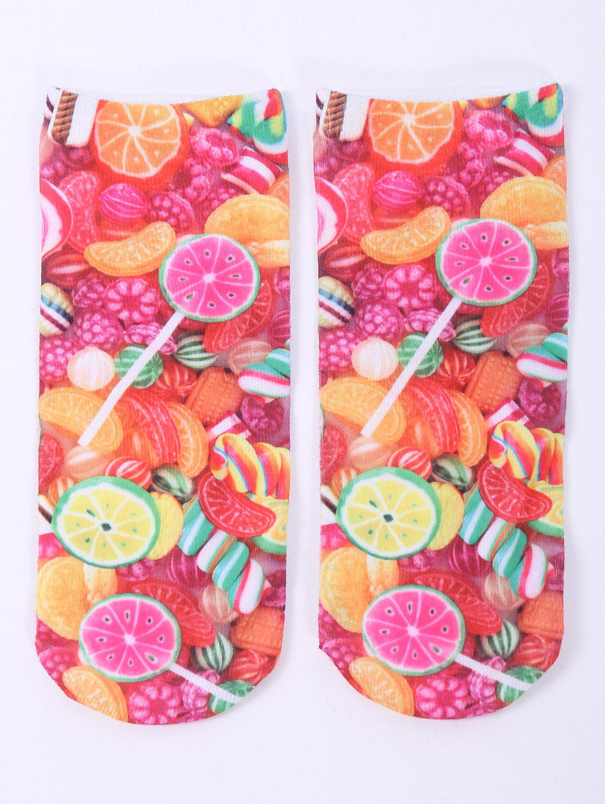 3D Fruit Candy One Side Print Crazy Ankle Socks - COLORFUL