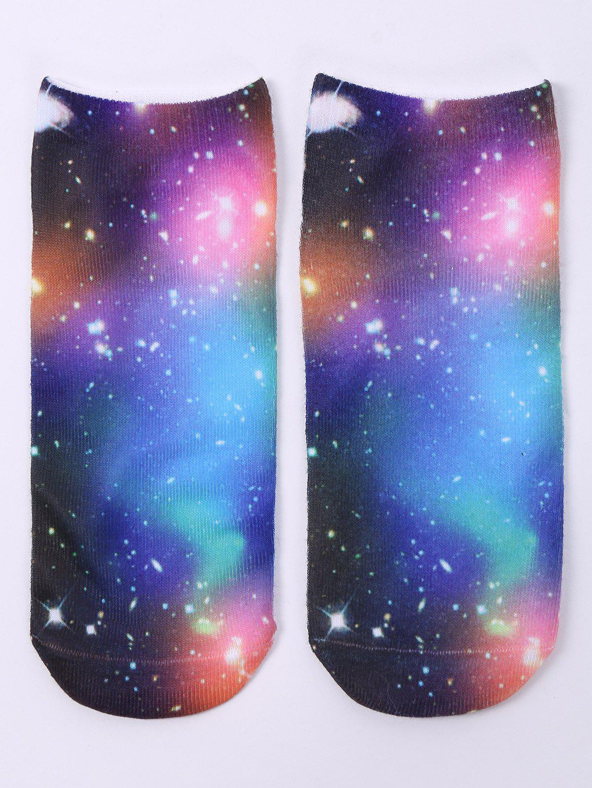 3D Galaxy One Side Print Crazy Ankle Socks - COLORMIX