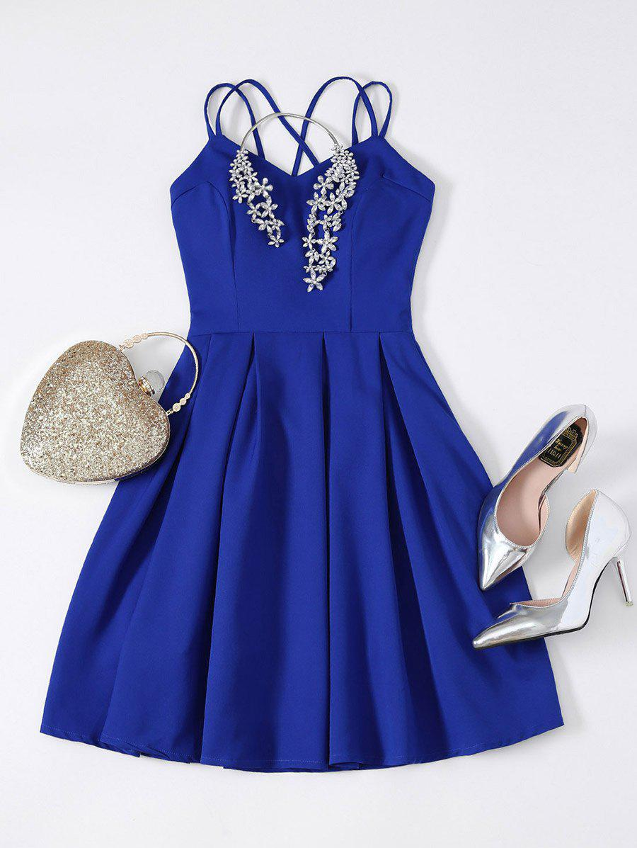 Strappy Fit and Flare Mini Prom Dress - SAPPHIRE BLUE L