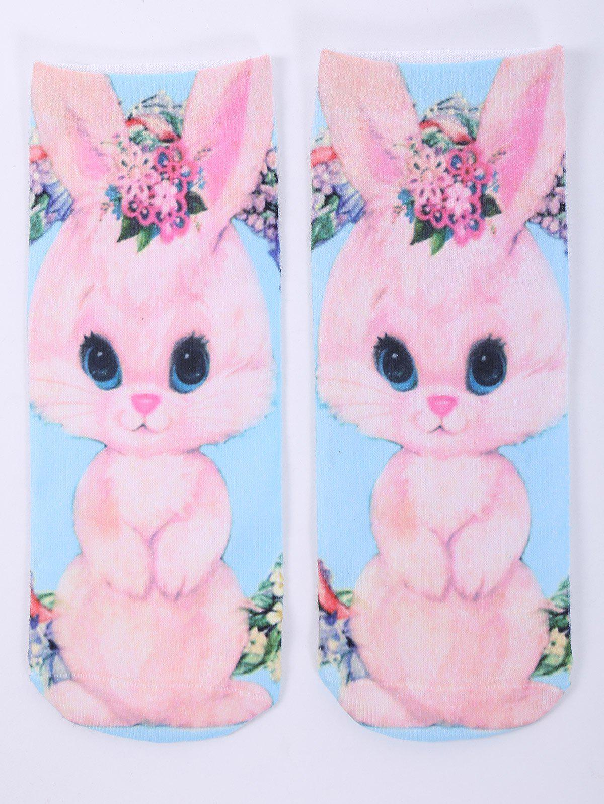 3D Cartoon Rabbit One Side Print Crazy Ankle Socks - PINK
