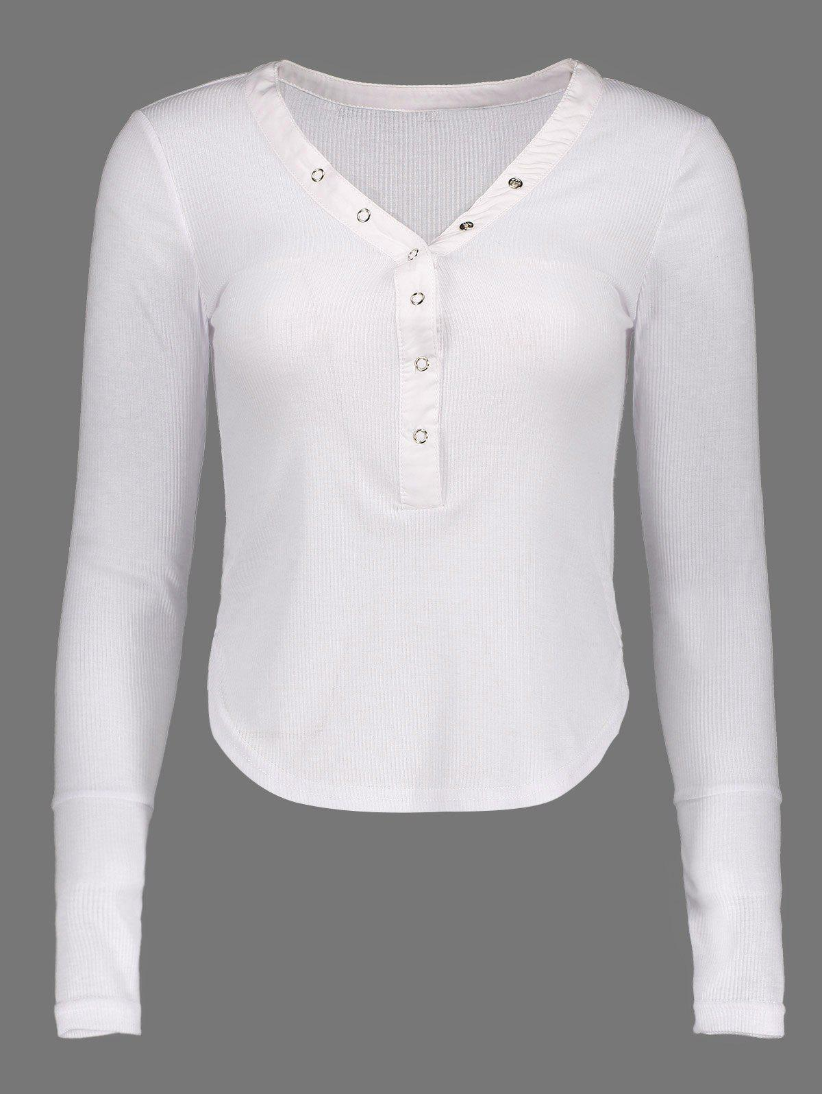 Long Sleeve Buttoned TeeWomen<br><br><br>Size: L<br>Color: WHITE