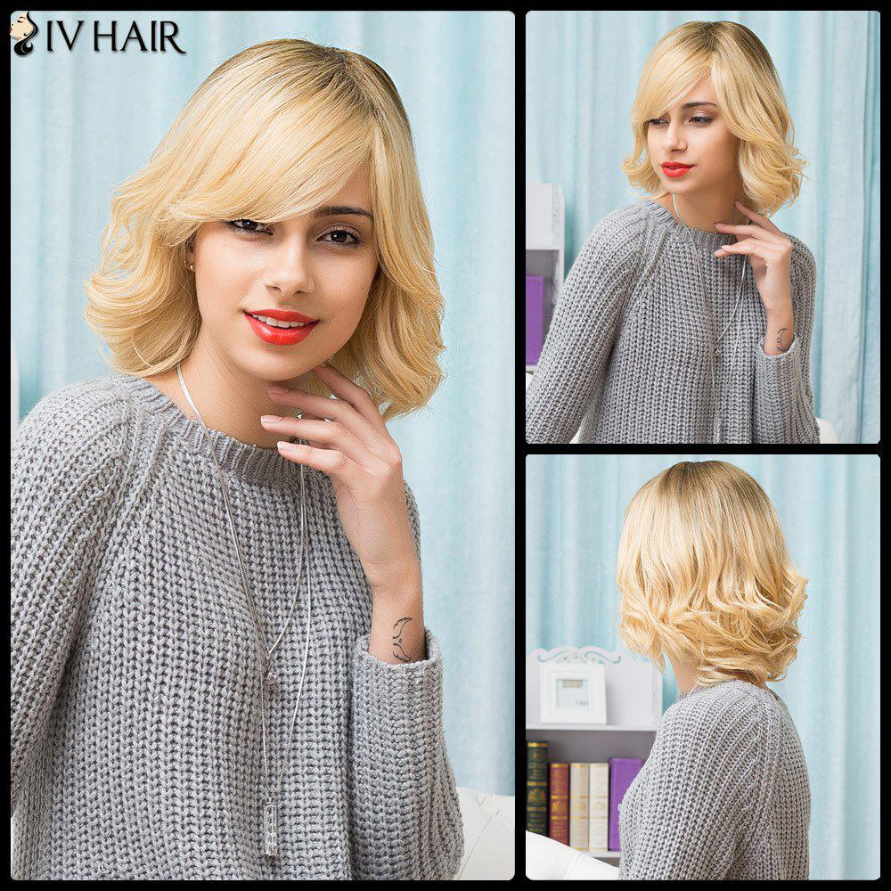 Siv Hair Inclined Bang Short Curly Bob Human Hair WigHair<br><br><br>Color: COLORMIX