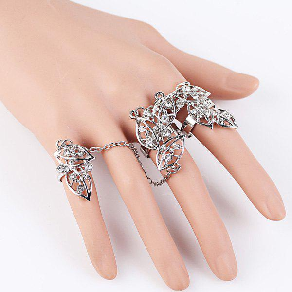 Leaves Rhinestone Ring Set - SILVER ONE-SIZE