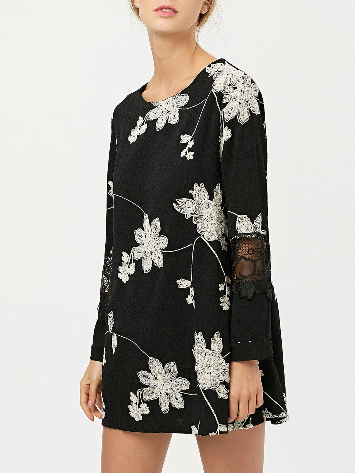 Floral Embroidered Lace Panel Short Chiffon Shift Dress with Sleeves floral embroidered short sleeve dress