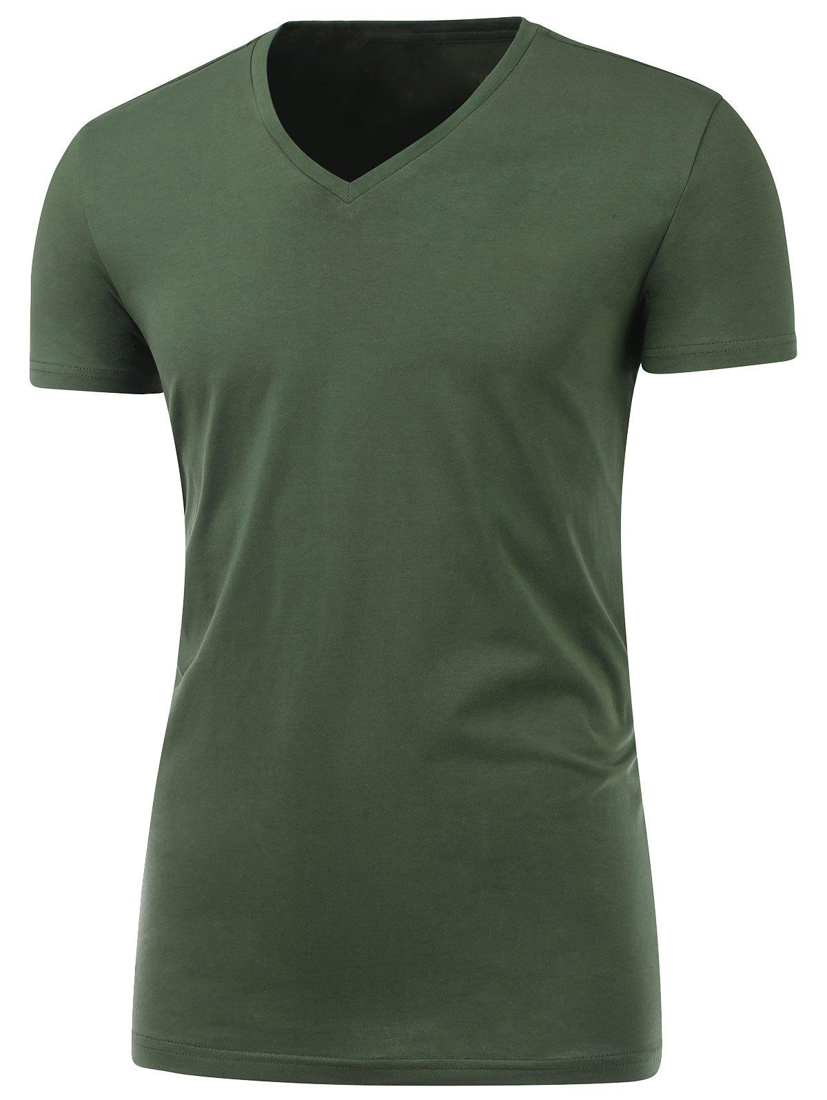 Slim Fit Short Sleeve V Neck Tee - BLACKISH GREEN L