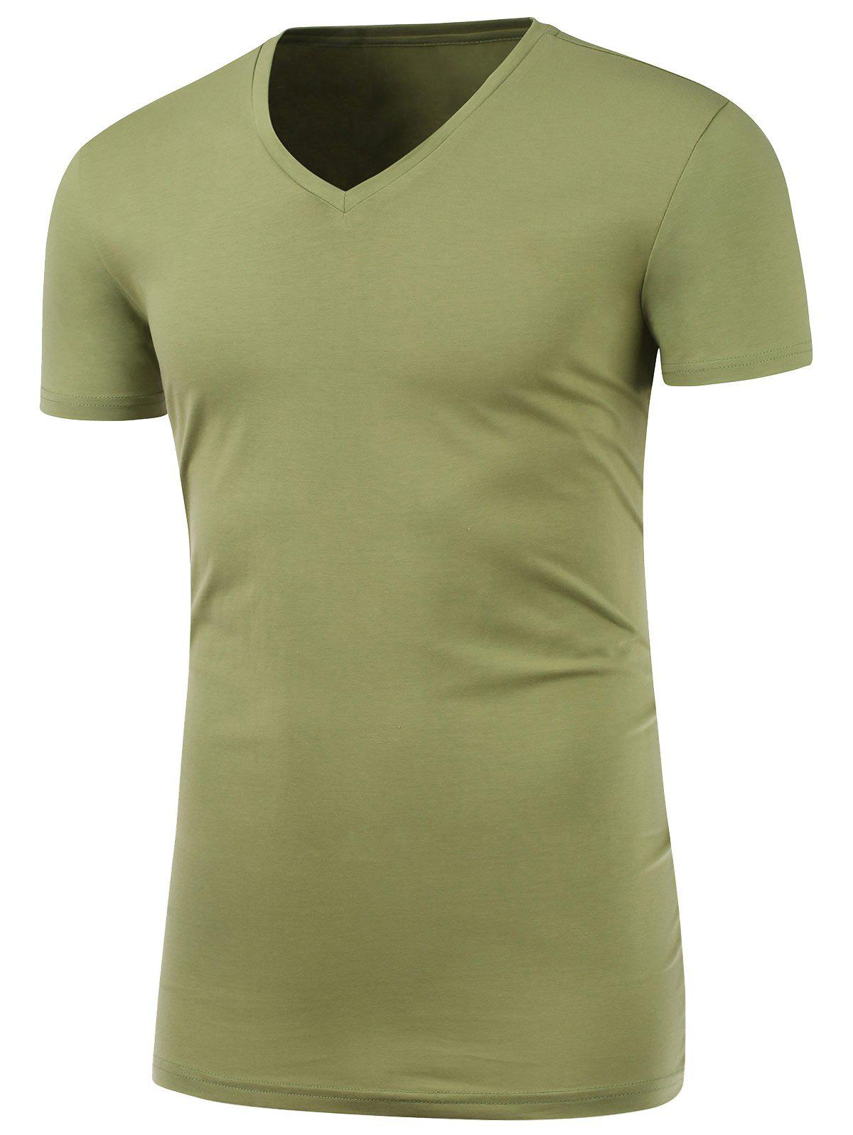 Slim Fit Short Sleeve V Neck Tee - PEA GREEN 4XL