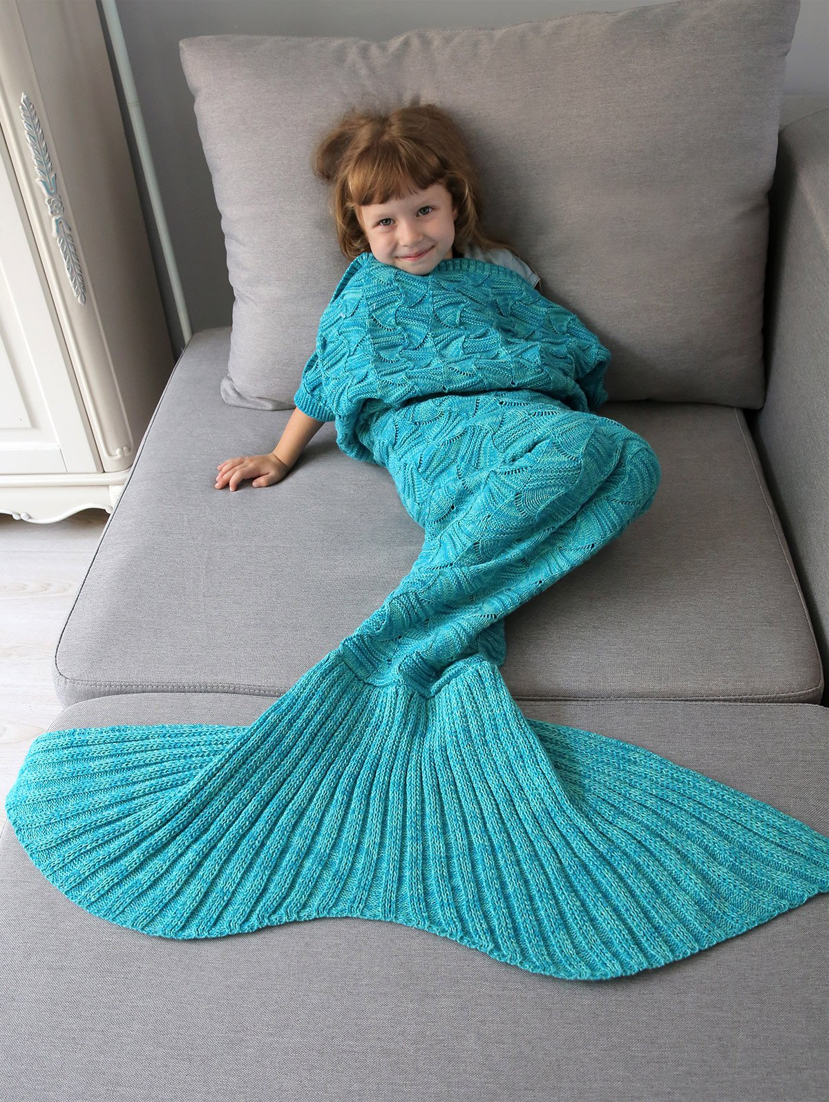 Spiral Algae Crochet Knit Mermaid Blanket Throw For Kids - OCEAN BLUE