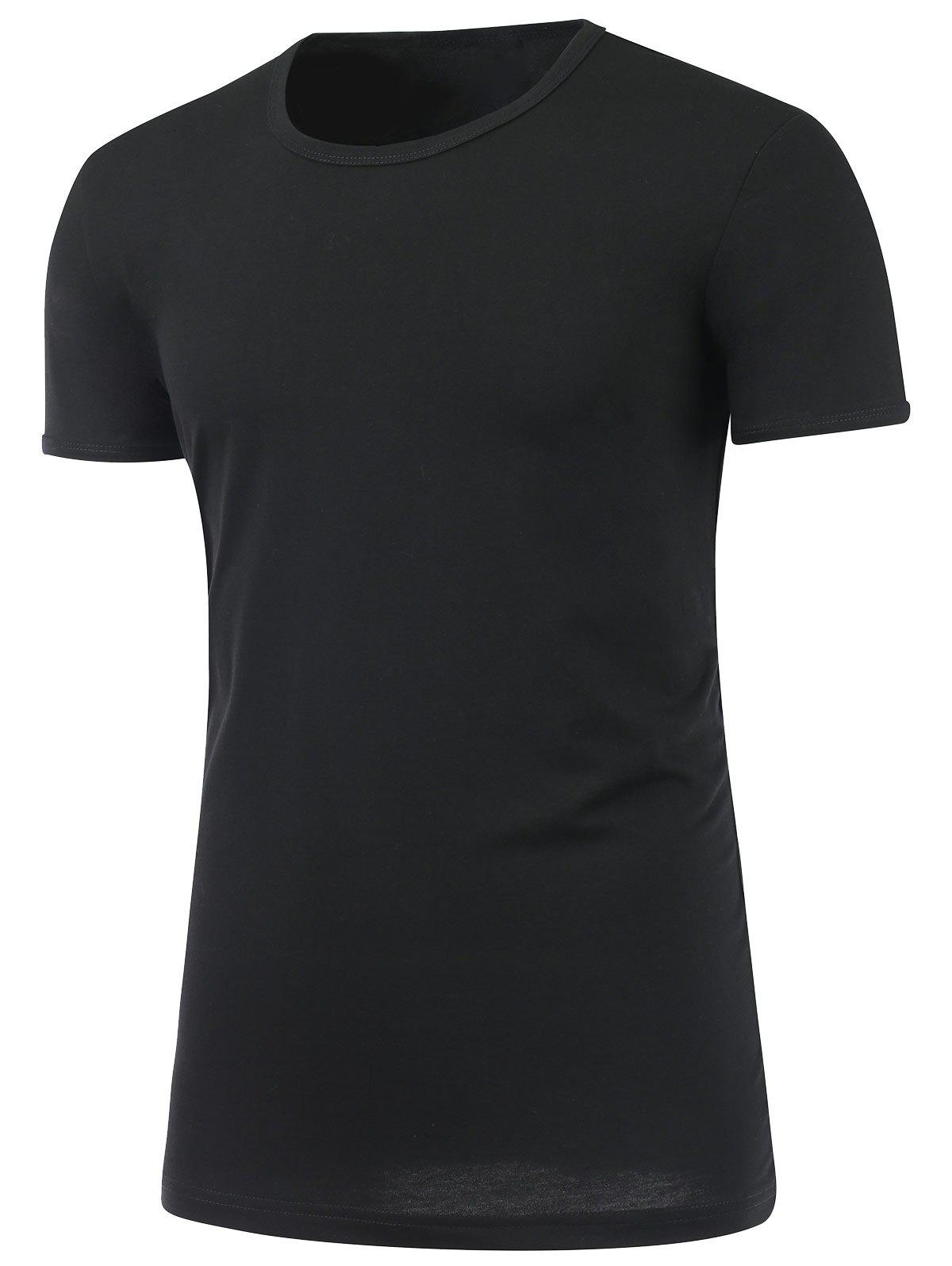 Slim Fit Short Sleeve Round Neck Tee - BLACK 5XL