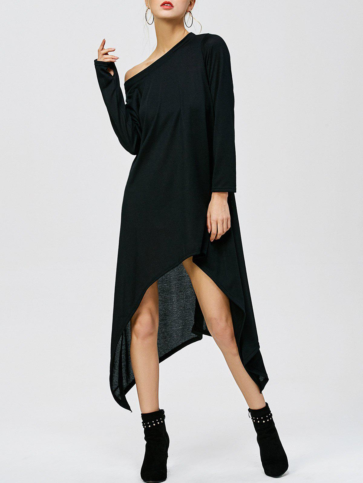 Skew Neck High Low Hem Dress BLACK