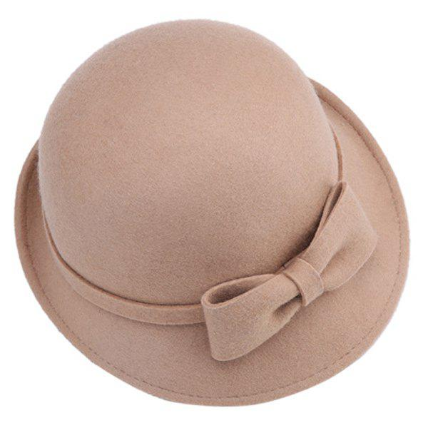 Plain Bowknot Strappy Flanging Felt Fedora HatAccessories<br><br><br>Color: CAMEL