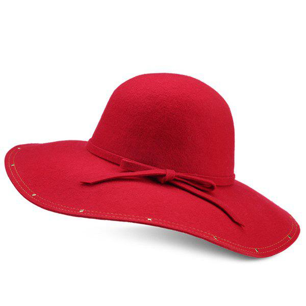 Small Bowknot Strappy Wide Brim Felt Fedora Hat new 4 5 red aluminium alloy handheld manual operated security alarm air raid siren portable safety