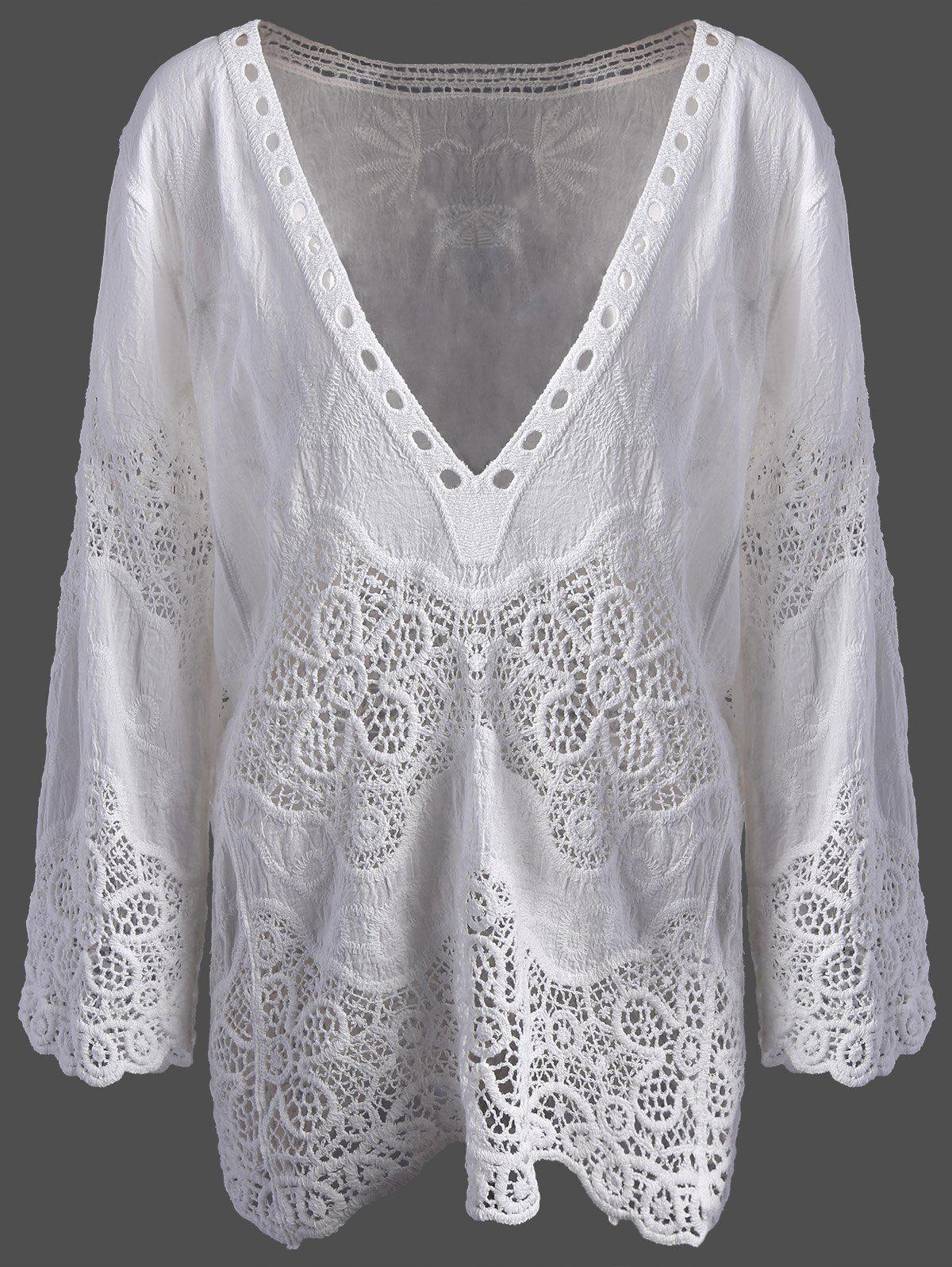 Lace Crochet Plunge Cover Up TopWomen<br><br><br>Size: ONE SIZE<br>Color: WHITE