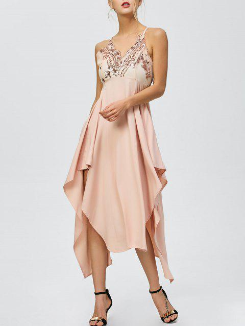 Sequin Nude Handkerchief Cami Midi Night Out Dress - LIGHT APRICOT PINK M