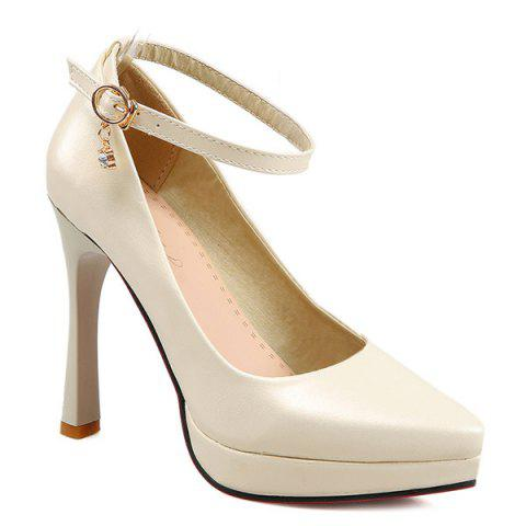 Pointed Toe Ankle Strap Pumps - BEIGE 38