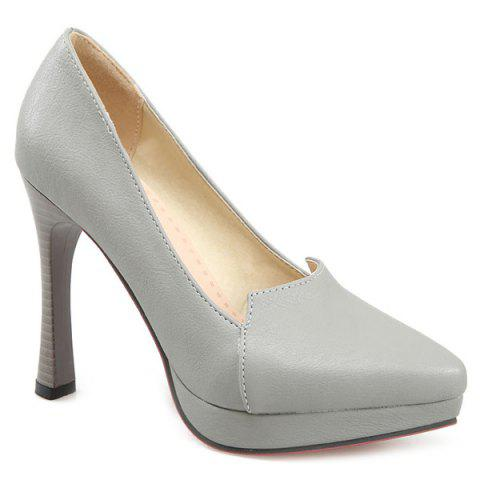 PU Leather Pointed Toe Pumps - GRAY 38