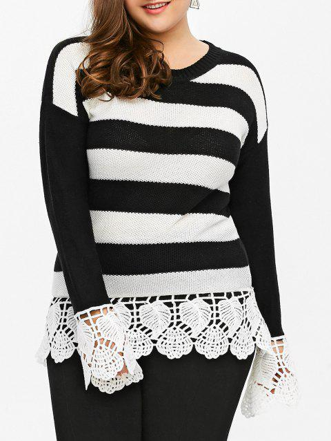 Lace Insert Striped Plus Size Sweater - BLACK STRIPE 4XL