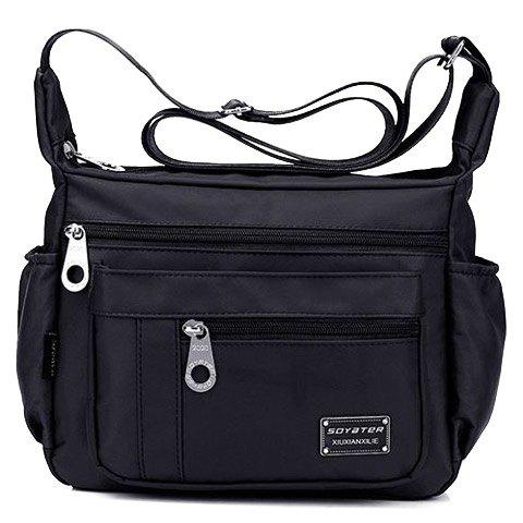 Concise Zippers and Nylon Design Women's Shoulder Bag - BLACK