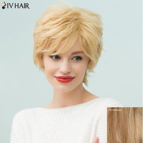 Siv Hair Pixie Shaggy Short Side Bang Straight Human Hair Wig - BLONDE