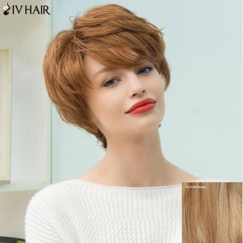 Siv Hair Short Pixie Inclined Bang Layered Straight Human Hair Wig - BLONDE