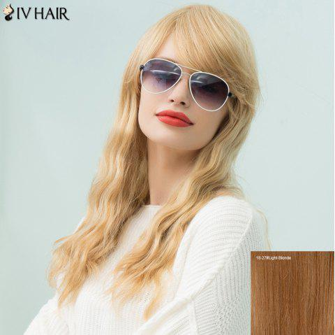 Siv Hair Inclined Bang Wavy Long Human Hair Wig - LIGHT BLONDE 18/27