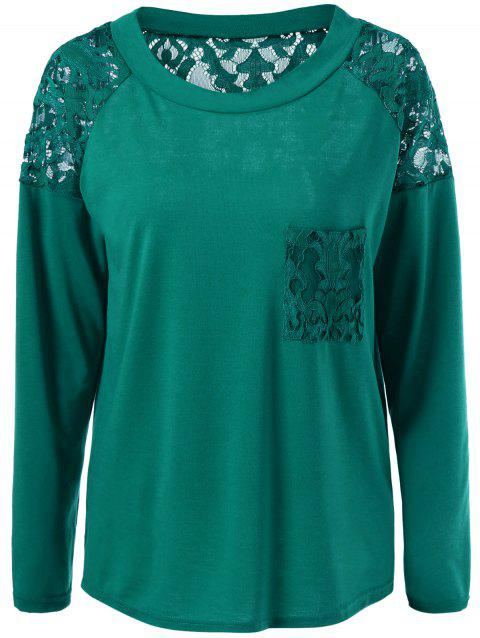 Lace Insert Pocket T-Shirt - GREEN M