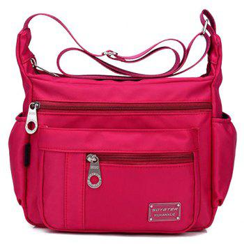 Concise Zippers and Nylon Design Women's Shoulder Bag - ROSE RED ROSE RED