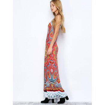 Floor Length Racerback Printed Dress - S S