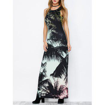 Side Slit Cut Out Maxi Tropical Dress - COLORMIX M