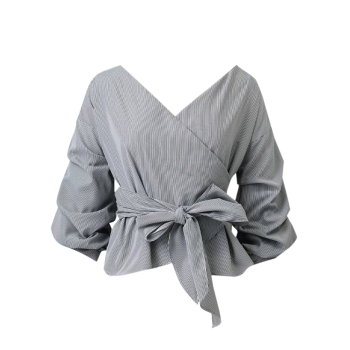 Striped Belted Surplice Blouse