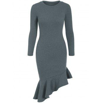 Long Sleeve Asymmetric Mermaid Dress