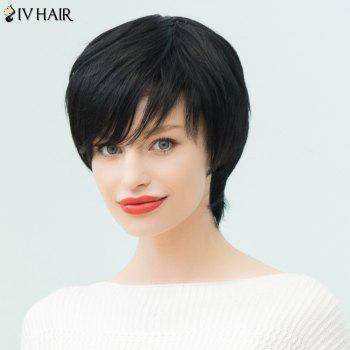 Siv Hair Inclined Bang Silky Straight Short Layered Human Hair Wig