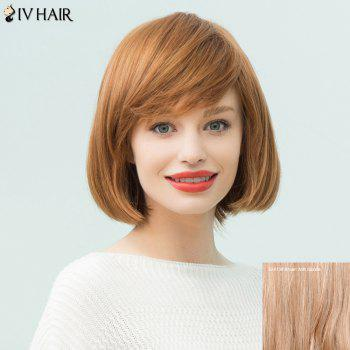 Siv Hair Short Layered Straight Inclined Bang Bob Human Hair Wig
