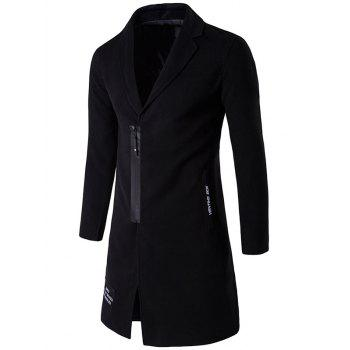 Patch Design Zipper Up Wool Blend Coat